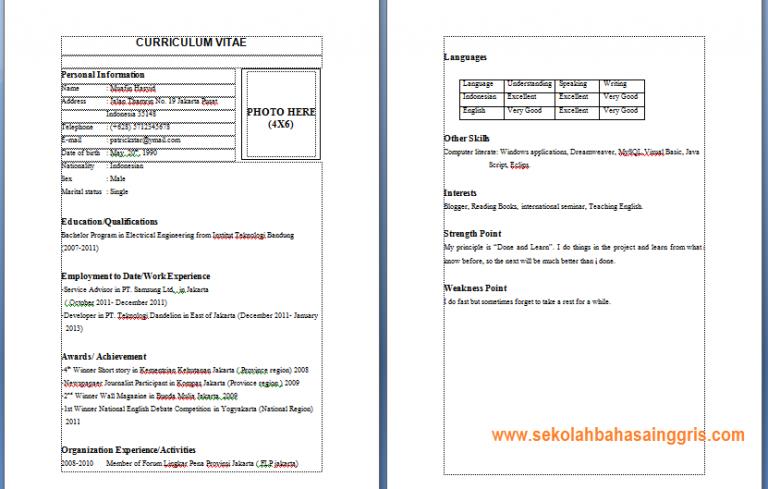 1000 Contoh CV Professional Dalam Bahasa Inggris