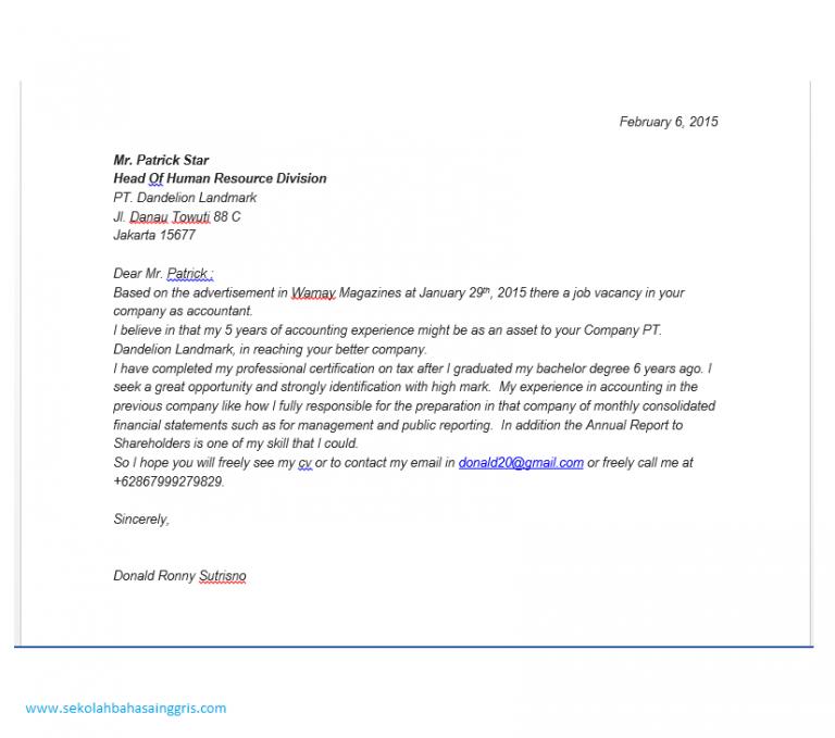 101 Contoh Surat Lamaran Kerja Dalam Bahasa inggris Bidang Accounting