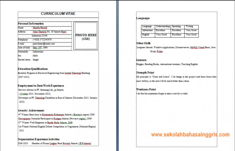 4 Contoh Curriculum Vitae Dalam Bahasa Inggris Yang Menarik