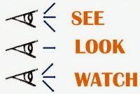 """Perbedaan, Penggunaan Dan Contoh """"See, Look, Watch"""" Dalam Kalimat Bahasa Inggris"""