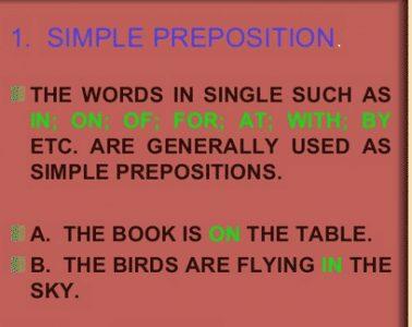 """Pengertian, Macam Dan Contoh """"SIMPLE PREPOSITION"""" Dalam Bahasa Inggris"""