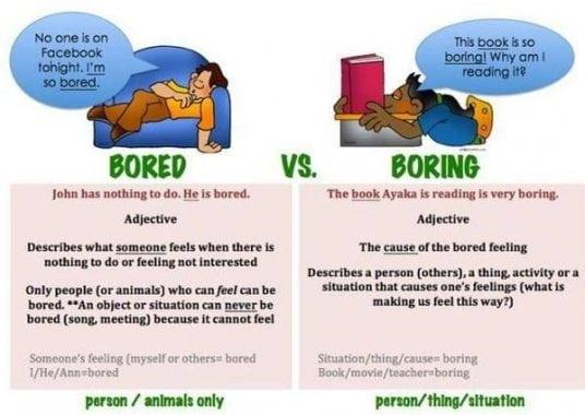 """""""Boring vs Bored"""" : Penjelasan Dan Contoh Kalimat Dalam Bahasa Inggris"""